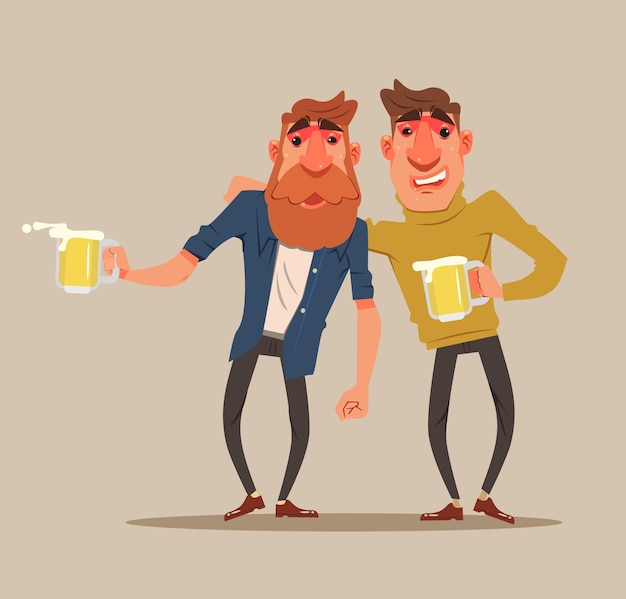 Two drunk friends men characters have fun.  flat cartoon illustration