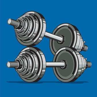 Two dumbbells on blue background.