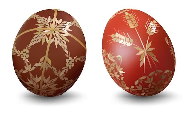 白い背景の上の装飾的なパターンを持つ2つのイースターエッグ