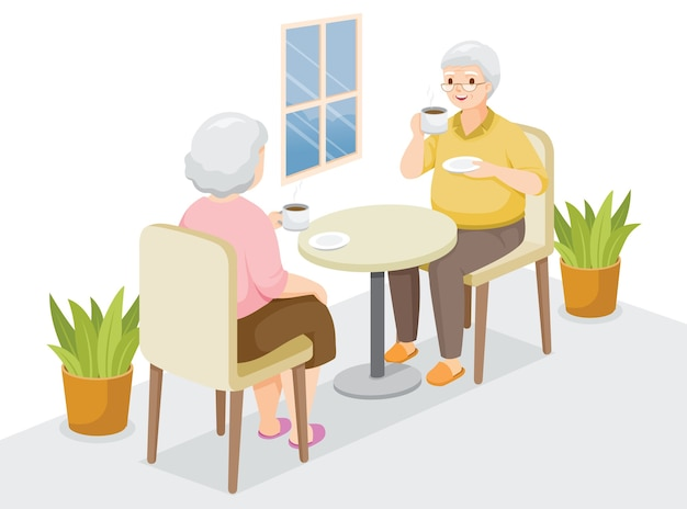 Two elderly sitting, drinking coffee together, stay home, stay safe, self isolation, protection themselves from coronavirus disease, clvid-19