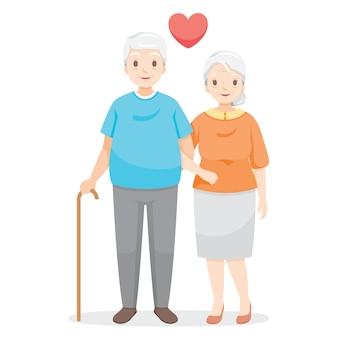 Два пожилых человека ходят под руку, любовник, день святого валентина