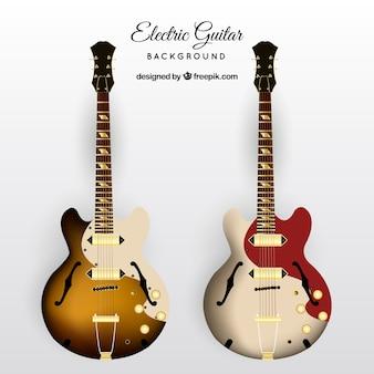 現実的なデザインの2つのエレキギター