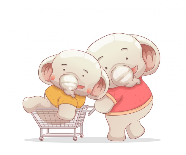 Two elephant having fun with trolley