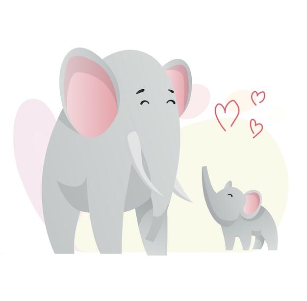 2頭の象がお互いを見ています。動物のママと赤ちゃん。フラットスタイルでかわいい動物を漫画します。服を印刷します。図