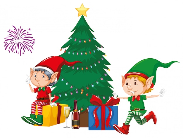 Two elves and presents by the christmas tree