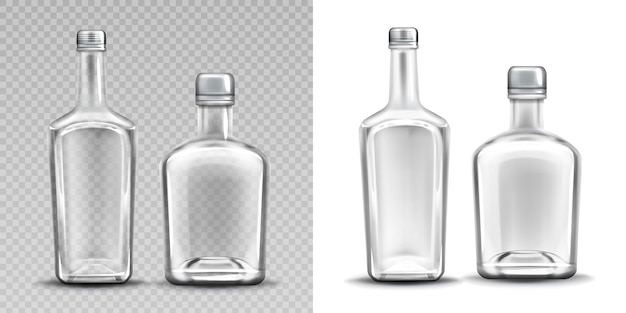 Two empty glass bottles set