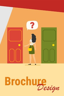 Two entrance choice. woman with question mark choosing between two doors flat vector illustration. solution, opportunities, dilemma concept