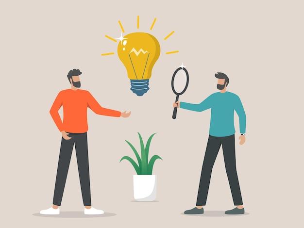 ビジネスアイデアを分析する2人の起業家