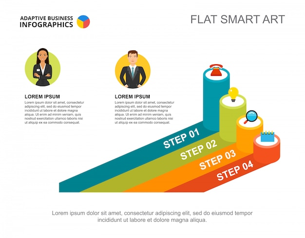 Два предпринимателя обрабатывают шаблон диаграммы для представления. визуализация бизнес-данных.