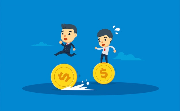 Two entrepreneurs walk by using gold coins. vector illustration