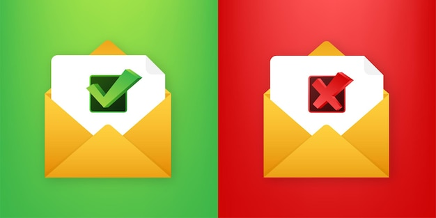 Два конверта с одобренными и отклоненными письмами. значок почты. векторная иллюстрация