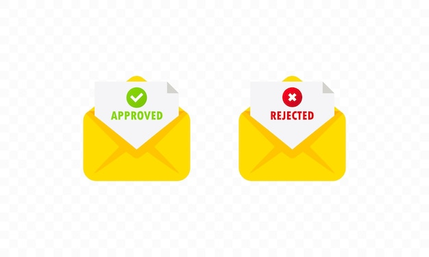 Two envelope with approved and rejected letters