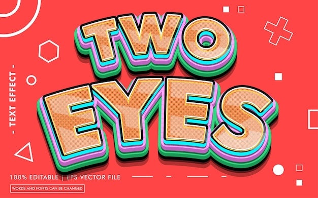 Two eyes text effect style