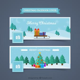 Два рождественских обложки facebook в синем