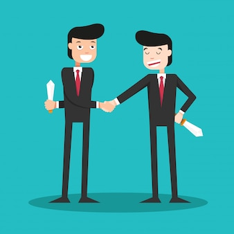 Two-faced guys shaking hands in the business world