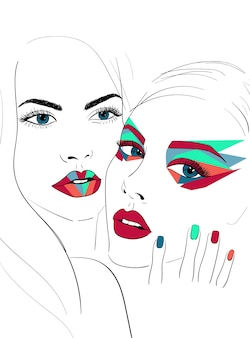 Two faces with bright makeup