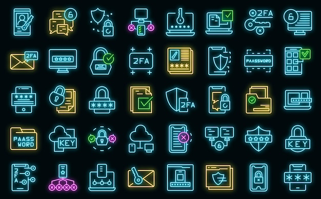 Two factor authentication icons set vector neon
