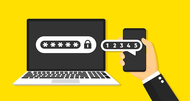 Two factor authentication with phone concept. vector icon