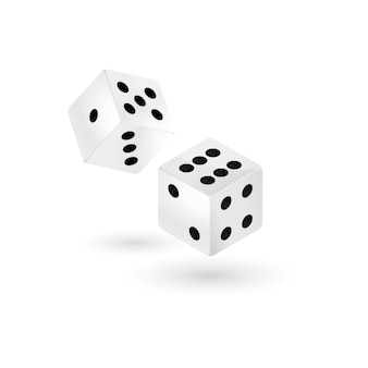 Two falling dice, isolated on white.