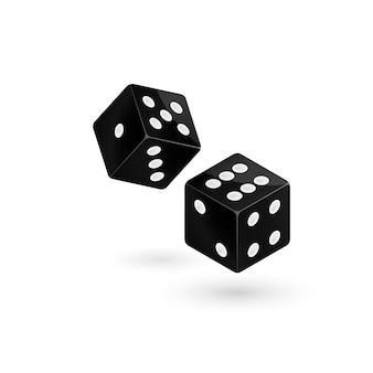Two falling dice, isolated.