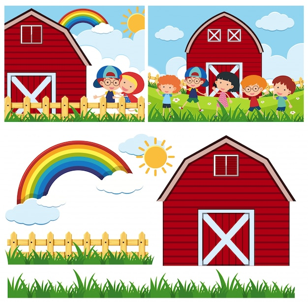 Two farm scenes with red barn and happy children