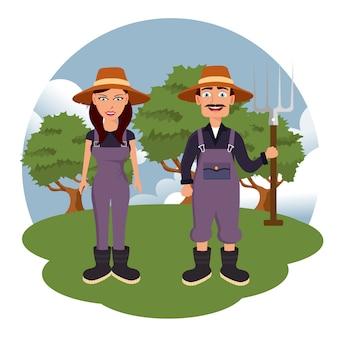 Two farmers in the farm scene