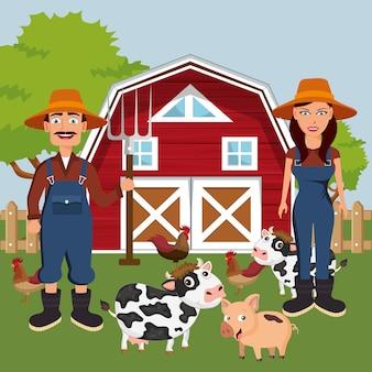 농장 구내에서 동물과 두 농민