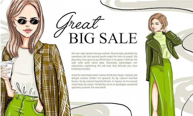 Two fashion cartoon models on a banner template