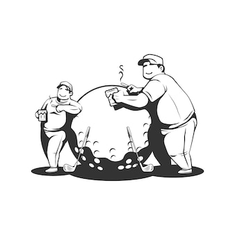 Two fat guys doing golf while drink beer and smoke cigarette