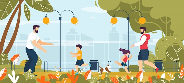 公園の漫画で子供と歩いている2人の父親