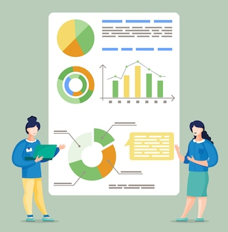 Two female coworkers showing graphs and diagrams at board