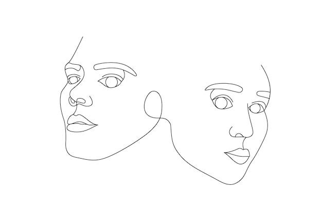 Два женских лица нарисованы одной сплошной линией. минималистичные абстрактные портреты красивых женщин. концепция современной моды. черный рисунок на белом фоне
