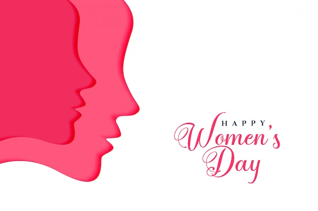Two female faces for happy womens day