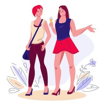 Две подруги гуляют в летнем чате, проводят время вместе