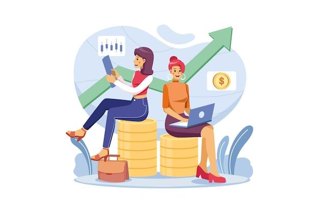 성공을 달성하고 더 많은 투자를하는 두 명의 여성 투자자