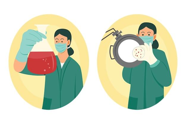 두 명의 여성 과학자가 일부 바이러스 테스트 프리미엄 벡터