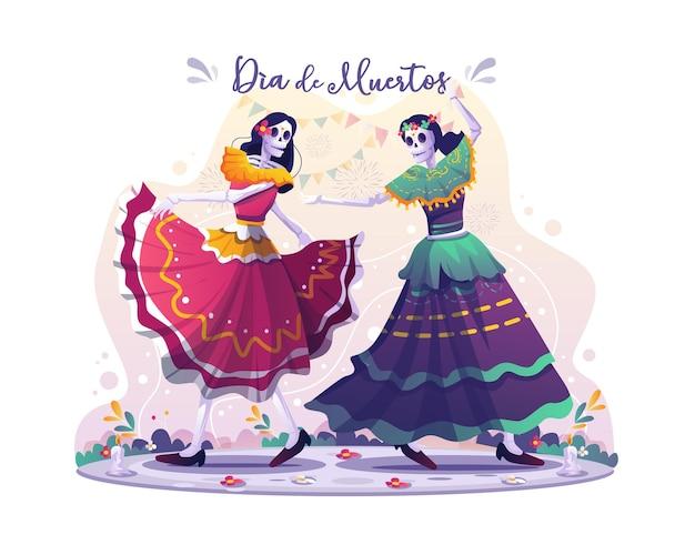 死者の日ディアデロスムエルトスのイラストを祝って一緒に踊る2人の女性の頭蓋骨ダンサー