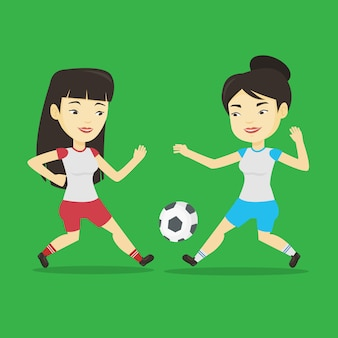 Two female soccer players fighting for ball.