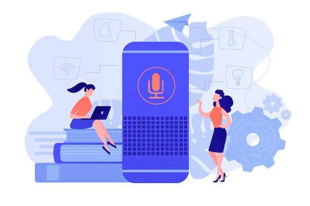 2人の女性ユーザーとスマートホームアシスタント。スマートホームオフィスのメインコントロールハブ。 iotテクノロジー、音声制御アシスタントモニタリングハウスのコンセプト。ベクトル分離イラスト。