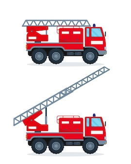Two fire engines isolated on white background