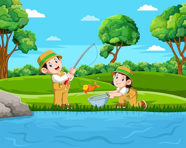 Two fisherman are fishing the fish in the pond with the good view
