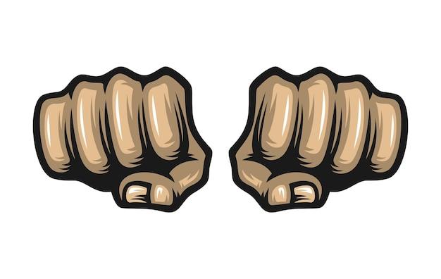 Два кулака, изолированные на белом фоне