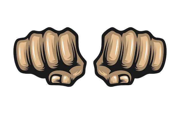 Two fists isolated on white background