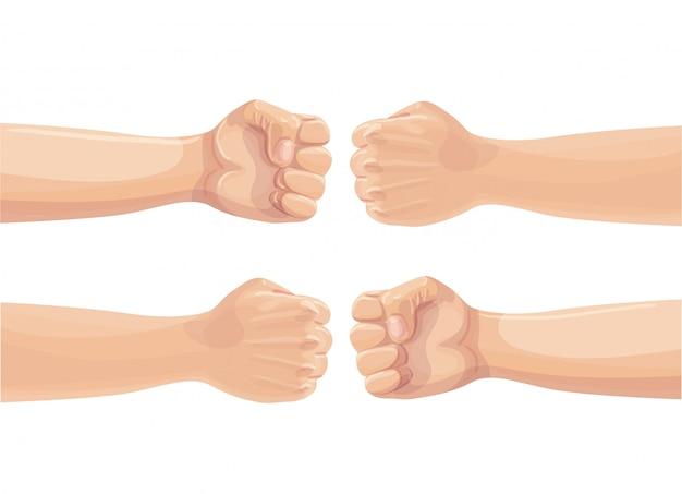 2つの拳がお互いをパンチします。 2つの握りこぶしの衝突。紛争、抗議、兄弟愛または衝突の概念。漫画イラスト