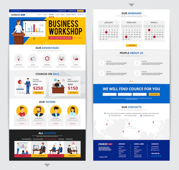 Two flat design web pages presenting detailed information about business traning courses isolated on