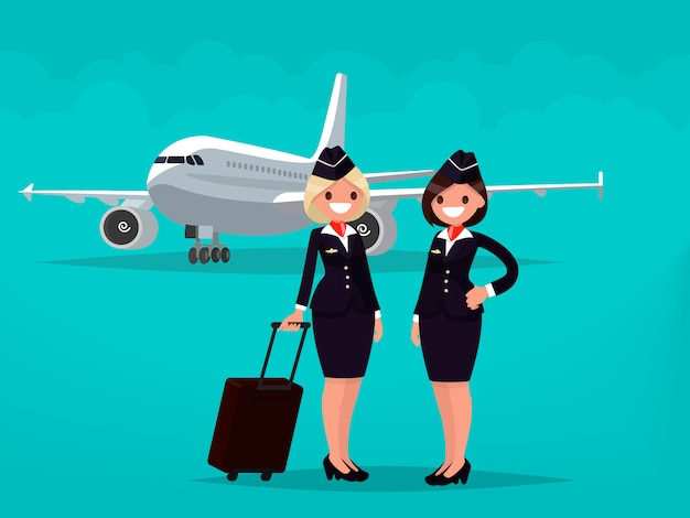 Two flight attendants against the backdrop of civil aircraft.