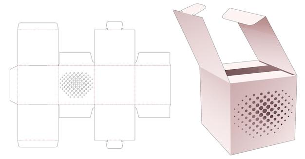 스텐실 하프 톤 도트 다이 컷 템플릿이있는 두 개의 뒤집기 상자