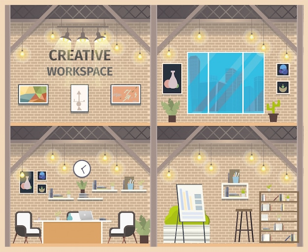 Two floor coworking business workspace banner