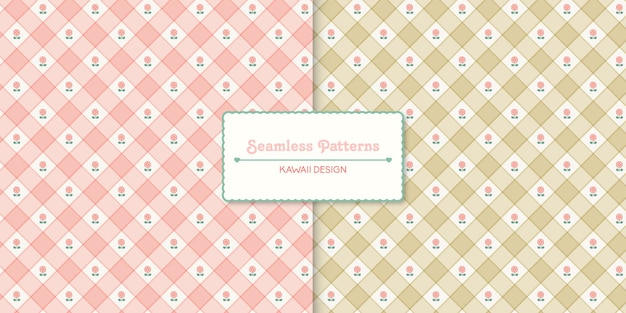 Two floral seamless pattern premium vector