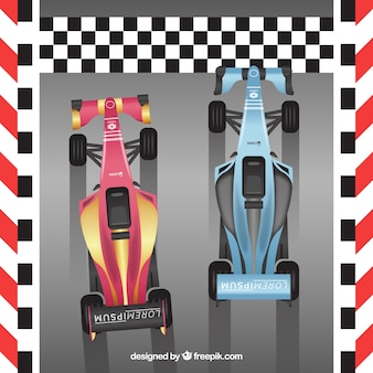 Two formula 1 racing car crossing finish line